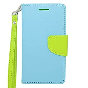 [ LG Lucid 3 / VS876 ] ToPerk Fashion Two Tone Leather Purse Wallet Case & ToPerk ? Stylus Pen As Bundle Sale - Light Blue/Green