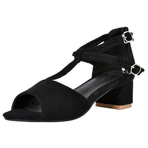 COOLCEPT Mujer Moda Correa en T Sandalias Tacon Ancho Peep Toe Zapatos Negro
