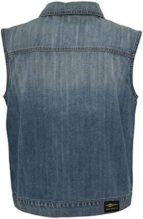 Men Vest Denim Jeans Stonewashed Blue Gilet Sleeveless Collar X Bikers Motorcyclists XL denim