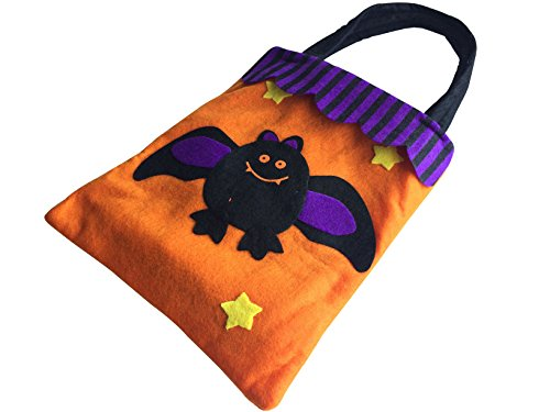 Halloween Trick or Treat Candy Bag for Kids with Assorted Designs of Pumpink, Black Cat, Witch, Ghost, Skull, Bat, and Spider by DEPTO