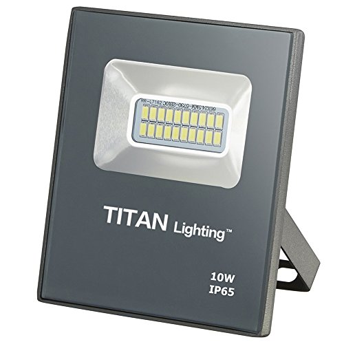 Titan Lighting Gray Frameless 10W Led Flood Lights, 50W Halogen/CFL Replacement, 850LM, 6000K Day Light, Waterproof, 120-277V, Instant on
