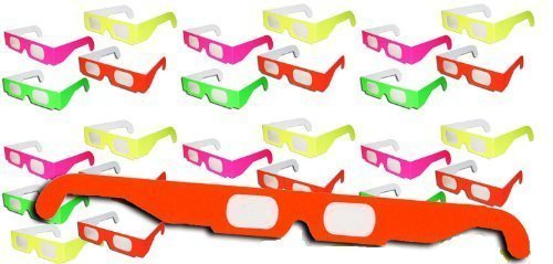 24 Pairs - NEON Prism Diffraction Fireworks Glasses - For Laser Shows, Raves - Ships Flat