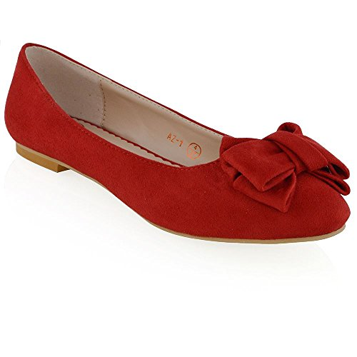 RED Mocassins Chaussures Dolly pour Womens Bow Slip Flat New ESSEX GLAM dames Ballerina SUEDE FAUX Pumps Ballerines On qUZO8z