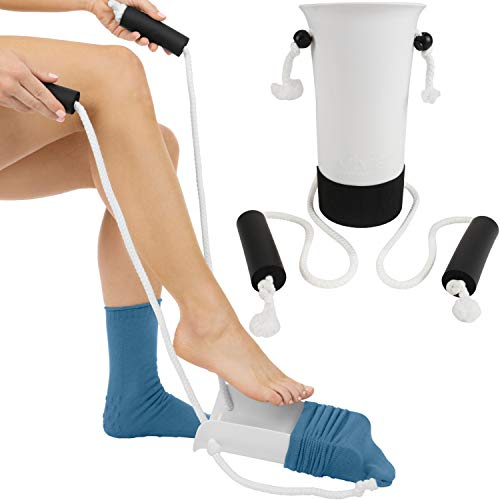 Stretch Stockings Piece 3 - Vive Sock Aid - Easy On and Off Stocking Slider - Donner Pulling Assist Device - Compression Sock Helper Aide Tool - Puller for Elderly, Senior, Pregnant, Diabetics - Pull Up Assistance Help