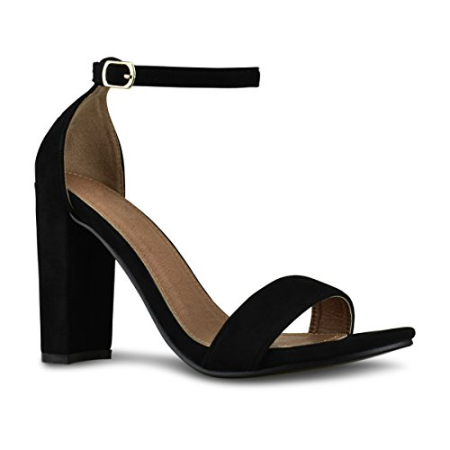 Premier Standard Women's Strappy Chunky Block High Heel - Formal, Wedding, Party Simple Classic Pump, TPS Heels-Yelrihs Black Su Size (100 Womens High Heels)