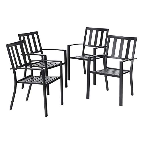 MF STUDIO 4 Piece Black Metal Outdoor Furniture Patio Steel Frame Slat Seat Dining Arm Chairs with Angle Back
