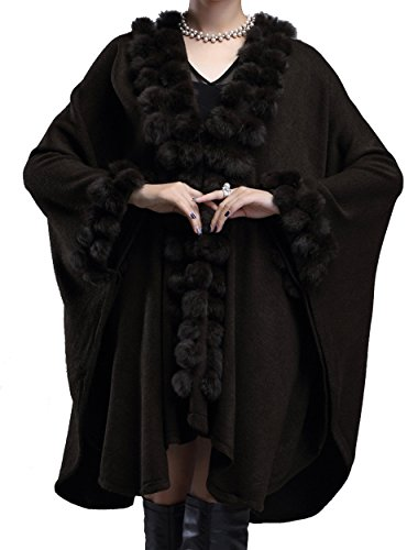 Helan Women's Rabbit Fur Ball Knitting Fashion Cape for sale  Delivered anywhere in USA