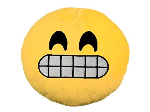 Emoticon Emoji-con Lach Smiley Kissen 30cm Dekokissen Stuhlkissen Sitzkissen gelb rund (Grinsen - 16)