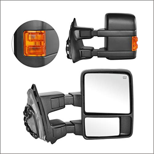 Perfit Zone Towing Mirrors Replacement Fit for 1999-2007 F-250 F-350 F-450 F-550 SUPER DUTY,POWER HEATED,W/AMBER SIGNAL,BLACK (PAIR ()