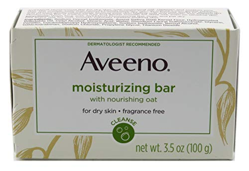 Aveeno Gentle Moisturizing Bar Facial Cleanser with Nourishing Oat for Dry Skin, Fragrance-free, Dye-Free, Soap-Free, 3.5 oz (Pack of - Soap Bath Moisturizing