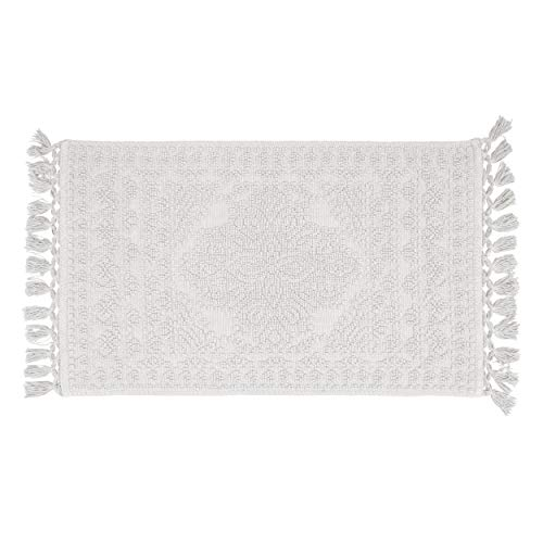 French Connection Nellore Fringe Bath Rug, 17 in. x 24 in. in, White (Crochet Rug Round)