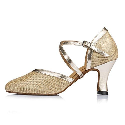 Miyoopark Femmes Fermé Orteils Paillettes Salsa Tango Chaussures De Danse Latine Mariée Pompes De Mariage Or-7cm Talon