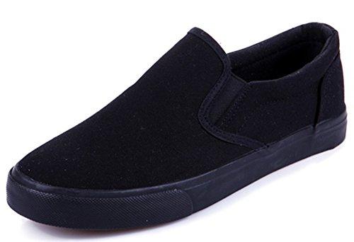 Idifu Damesschoenen Casual Lage Slip Op Loafers Platte Canvas Schoenen Sneakers Zwart 1