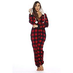 Just Love Adult Onesie/Pajamas,Medium,Red Buffalo Plaid