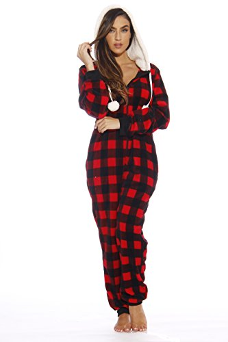 Just Love Adult Onesie/Pajamas,Medium,Red Buffalo Plaid]()