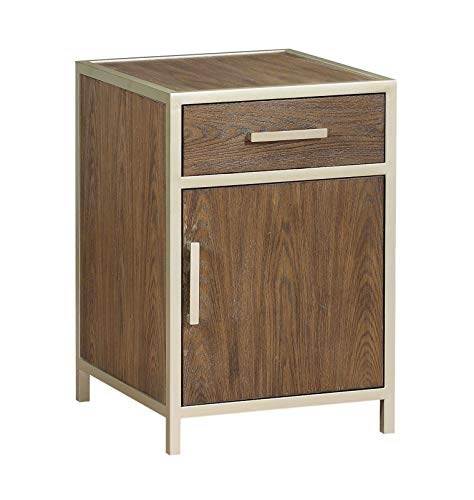 Treasure Trove 36645 Door One Drawer Chairside Cabinet End Table, Brown ()