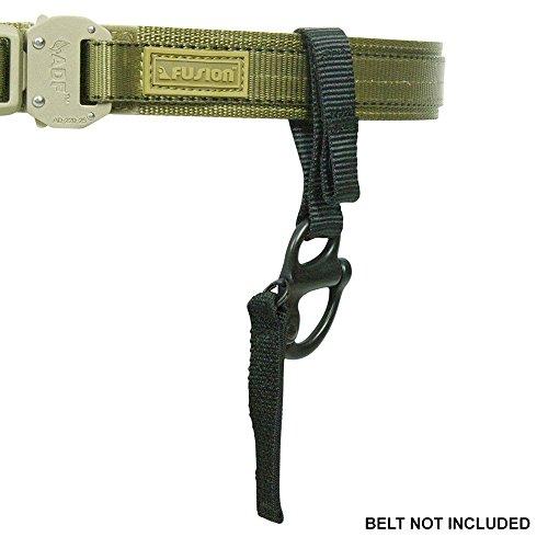 """Fusion Tactical Military Police Patrol Snap-Taste Klettband Keeper Schlüsselanhänger Schäkel Umreifungsmittelschleife 1"""" Breite / 7"""" Lange 4er-Set schwarz"""