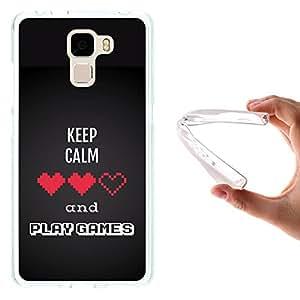 Funda Huawei Honor 7, WoowCase [ Huawei Honor 7 ] Funda Silicona Gel Flexible Pixel - Keep Calm and Play Games, Carcasa Case TPU Silicona - Transparente