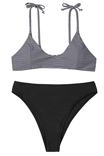 NO NO CAT Women's High Waisted Swimsuit Padded Bathing Suits Adjustable Straps Bikini Set Two Piece Swimwear (Black, S(US 4-6)) -
