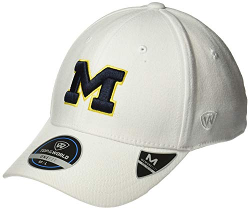 Top of the World Michigan Wolverines Men's Memory Fit Hat Icon, White, One Fit (Michigan Wolverines Clothing)