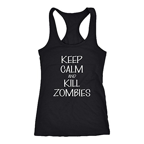 Kill Zombies Racerback Tank Top T-Shirt. Funny Kill Zombies Tank. Cool Shirt for Kill Zombies (2XL) (Zombie Women)