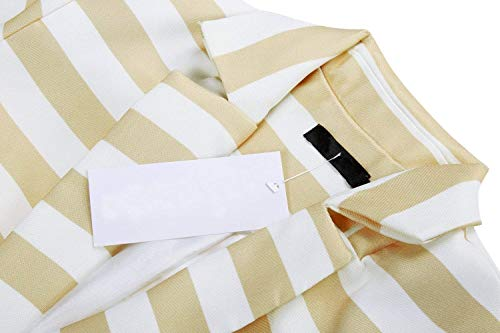 Outerwear Bavero Tasche Autunno Aprikose Tailleur Da Button Outwear Lunga Confortevole Fit Anteriori Manica Blazer Stlie Giacca Slim Donna Grazioso Stripe qwBC4fZ
