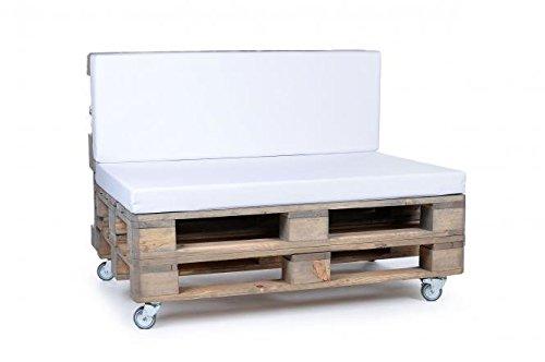 Palettenkissen, Gartenmöbel Auflagen, Sitzbankauflage, Matratzenauflagen auch m. Rückenlehne bzw. Dekokissen in Nylon, weiss, wasserabweisend und strapazierfähig