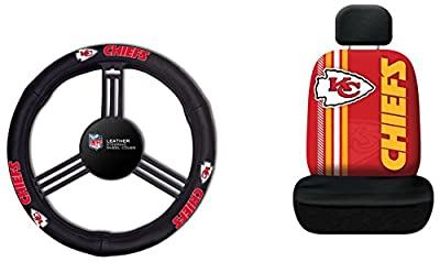 Fremont Die NFL Kansas City Chiefs Rally Seat Cover with Leather Steering Wheel Cover, One Size, Black