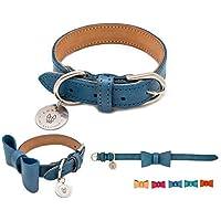LONDOG Collar de Piel para Perro Personalizable Hecho a Mano incluye plaquita Modelo Yaxha (Varios tamaños y Colores)