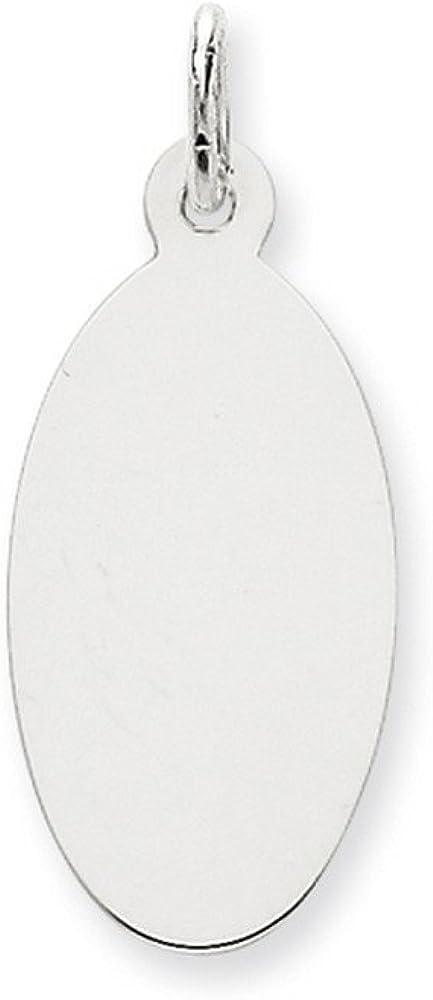 14K White Gold Plain .018 Gauge Oval Engravable Disc Charm