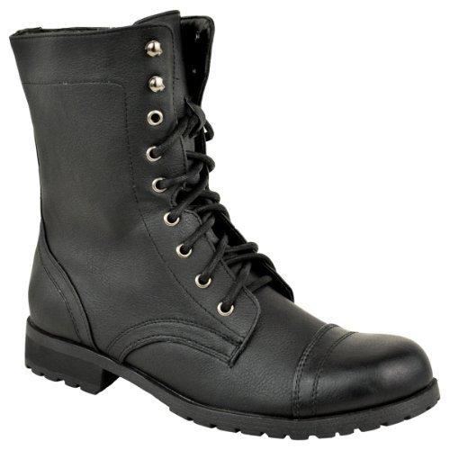 Faux Noir Soif Mode Taille Chaussures Militaire Combat Lacets Bottines En Cuir Dames Punk Goth Trench Arme De Biker 6wBxqZ4w