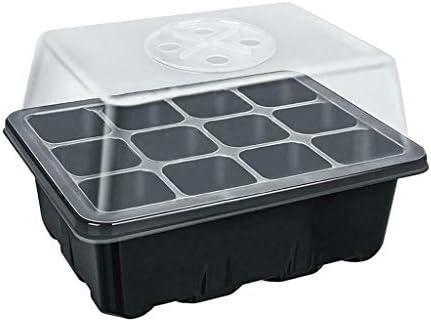 Shenye 12 Löcher Samenpflanzbox, transparente Abdeckung - einfach zu bedienen - Nicht nährstoffhaltiger Boden - Plant Seed Grow Box, Kunststoff Anzuchtplatte Topfplatte (Schwarz)