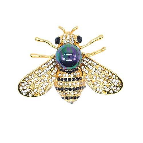 TULIP LY Honey Bee Brooches Crystal Insect Themed Bee Brooch Animal Fashion Shell Pearl Brooch Pin Gold Tone (Multicolored Black)