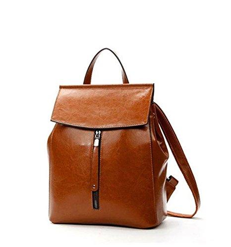 HAOYUXIANG Nuevo bolso femenino de la moda europea y americana de cuero retro bolso de hombro bolsa de estudiante de marea de cera de aceite de cuero de la marea (Color : Gris) Marrón