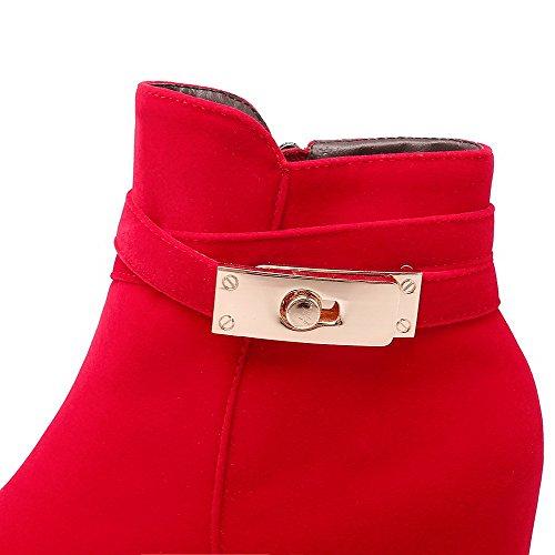 Allhqfashion Womens Imitato? Stivali Bassi A Tacco Alto In Pelle Scamosciata Con Tacco Alto Rosso