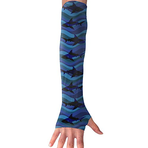 Blue Wave Shark Unisex Protection Hand Cover Arm Sleeves Cool Cover Sun For Outdoor Activities 1 Pair (Waves Table Activity)