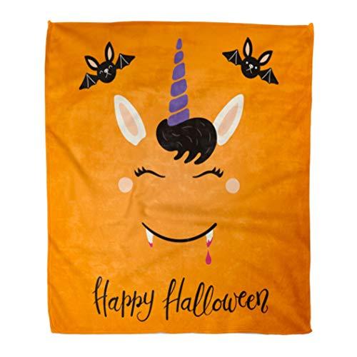 Emvency Flannel Throw Blanket Cute Funny Vampire Unicorn Face Lettering Quote Happy Halloween Flat Children 60x80 Inch Lightweight Cozy Plush Fluffy Warm Fuzzy Soft -