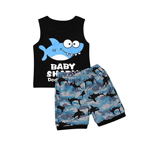 Toddler Kid Boys Clothes Set Sleeveless O Collar Cute Shark Print Cotton Vest Tops + Elastic Sharks Shorts Summer Outfits Ourdoor Beach 2Pcs (Black, 2-3 Years) (Fa3)