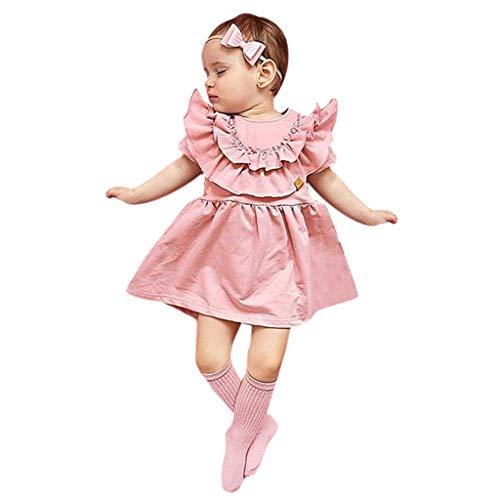 - Trule Toddler Kids Baby Girls Ruffled Solid Hair Band Casual Princess Dress Hair Band Summer Sundress Pink
