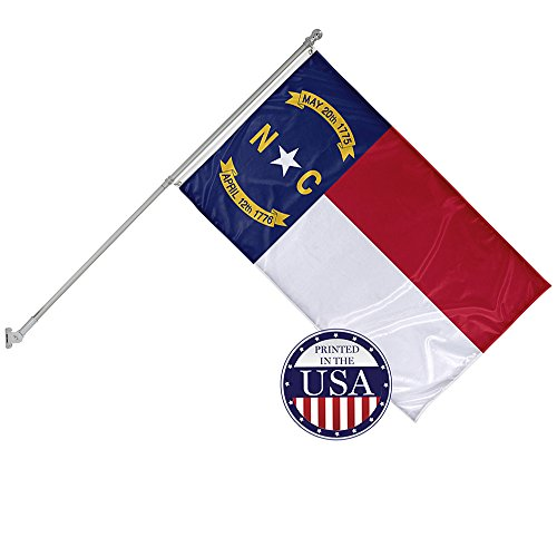 (Vispronet - North Carolina State Flag and 6ft Flagpole with Wall Mounting Bracket - 3ft x 5ft Knitted Polyester Flag, State Flag Collection, Flag Printed in The USA )