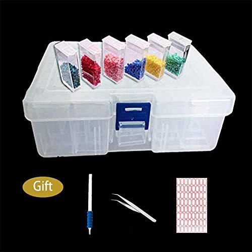 Diamond Painting Boxes Organizer Embroidery Box Storage Box Bead Storage Container with Diamond Painting Tools (42 pcs)
