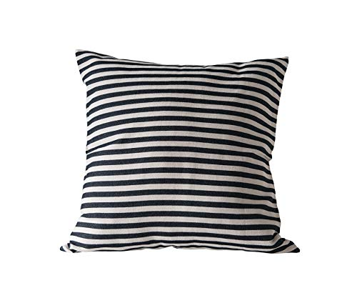 (Creative Co-Op Square Cotton Woven Pillow with Black & Cream Stripes)