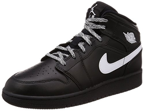 - NIKE Jordan Youth Air Jordan 1 Mid Black White Leather Trainers 37.5 EU