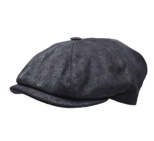 - Classic Italy Classic Marseillaise Cuir Leather Flat Cap Size XXL Black