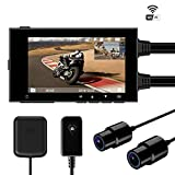 Motowolf M6 Motorcycle Recording Camera System Waterproof Dual Lens 1080P Dash Cam Dvr Sports Action Camera Security Video Recording with 2.7' LCD 155 Degree Angle WiFi & GPS Support 256G Max