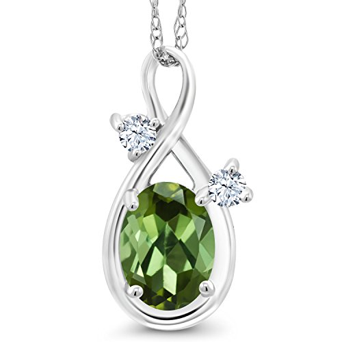 Gem Stone King 0.78 Ct Oval Green Tourmaline White Created Sapphire 14K White Gold Pendant