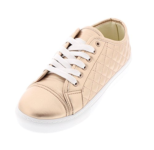 Gold Toe Womens Classic Lace Up Low Top Fashion Walking Sneaker Casual Sporty Athletic Style Street Shoe Rose Gold yIeV9