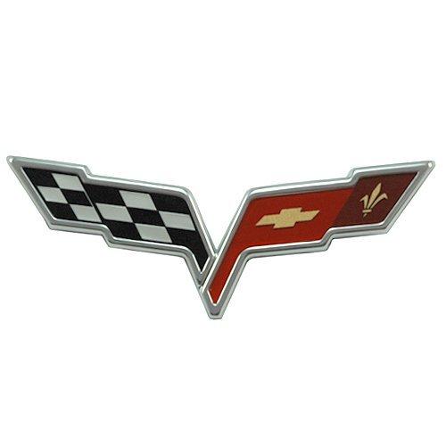 - 2005-2013 C6 Corvette Front Hood Crossed Flags Badge; OEM Factory Emblem