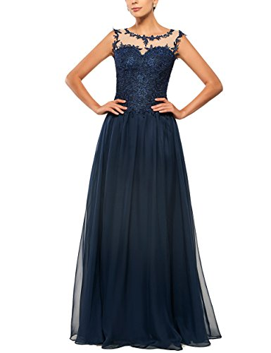 Aorme Elegant A-Line Lace Navy Blue Evening Bridal Mother Dress with Buttons