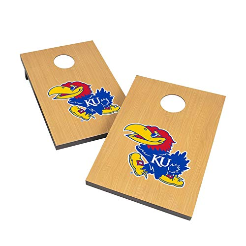 - Victory Tailgate NCAA 2x3 Travel Cornhole Set - 2 Boards, 8 Bags - Kansas Jayhawks